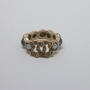 Chanel multicolored gold tone embellished ring